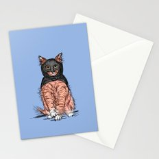 Periwinkle Pink Bat Cat Stationery Cards