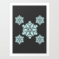 Grey Snowflakes Art Print