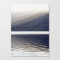 Shafts of sunlight at sunset of Crummock Water. Cumbria, UK. (Shot on film). Canvas Print