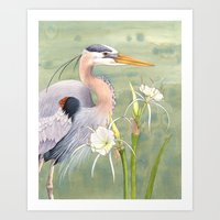 Great Blue Heron And Spi… Art Print