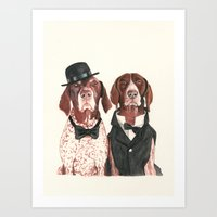 german short hair pointers - F.I.P. @ifitwags (The pointer brothers) Art Print