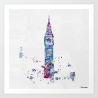 london Art Prints featuring London by Watercolorist
