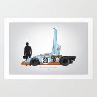 Outline Series N.º4, Steve McQueen, Porsche 917, Le Mans movie 1971 Art Print