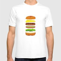 Cheeseburger Mens Fitted Tee White SMALL