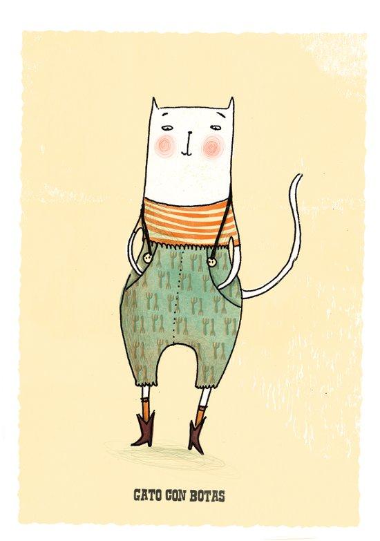 Gato con Botas Art Print