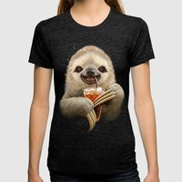 SLOTH & SOFT DRINK Womens Fitted Tee Tri-Black SMALL