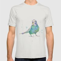 Cute Parakeet - Bertie W… Mens Fitted Tee Silver SMALL