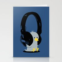 Le poussin mélomane (blue) Stationery Cards