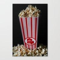 Movie Night and Popcorn Canvas Print