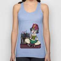 Stereo girl listening to Records Unisex Tank Top