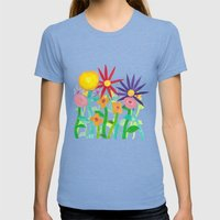 More Flowers Womens Fitted Tee Tri-Blue SMALL