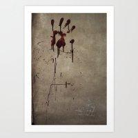 Zombie Attack Bloodprint - Halloween Art Print