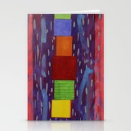 Colourful Piled Cubes Wi… Stationery Cards