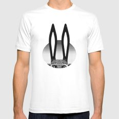 Peekaboo Rabbit White SMALL Mens Fitted Tee