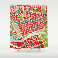 Vintage Style Map of Melbourne Shower Curtain