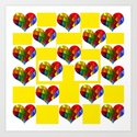 Checkerboard Rainbow Hearts Art Print
