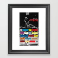 Michael Jordan's Spor Career. Framed Art Print