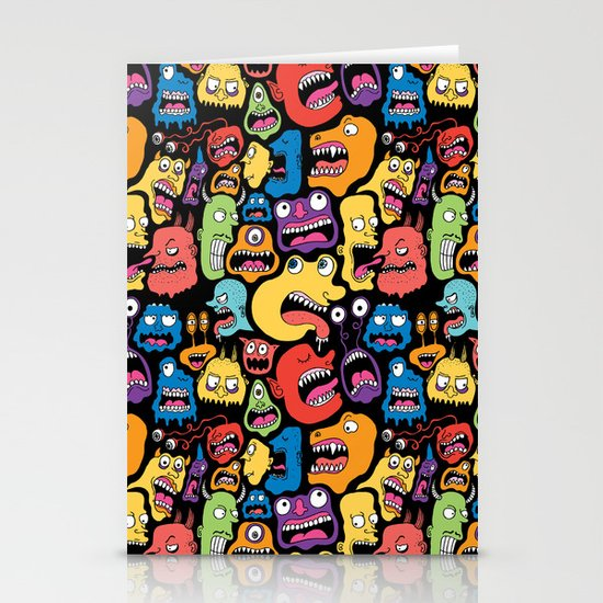 Monster Faces Pattern Stationery Card