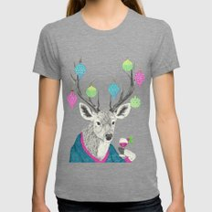 Mr. Deer Gets Festive  Womens Fitted Tee Tri-Grey SMALL