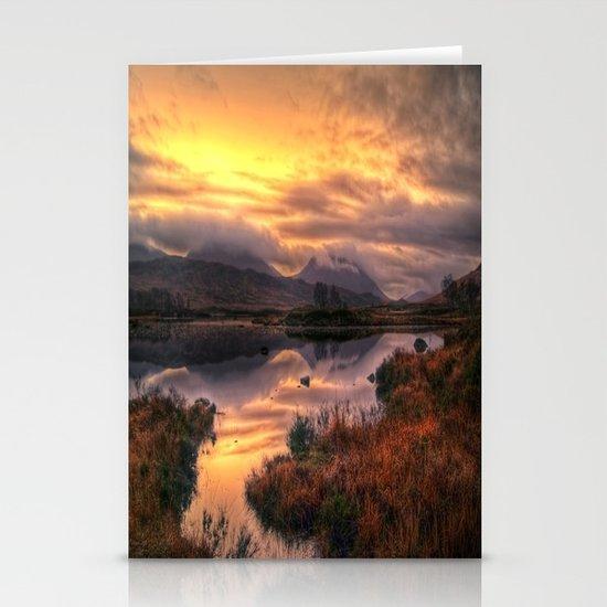 Golden Sunrise Over Loch Ba Stationery Card