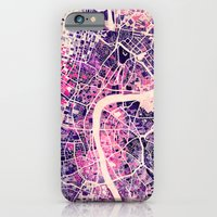 london iPhone & iPod Cases featuring London Mosaic Map #2 by Map Map Maps