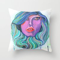 Pretty Oceanic Ombre Face Throw Pillow