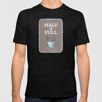 Half Full Mens Fitted Tee Tri-Black SMALL