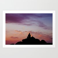 Man Enjoying Sunset II Art Print
