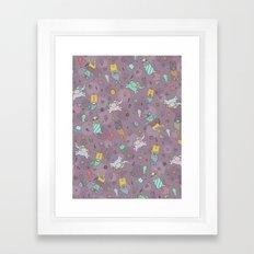 Cat mermaids under the sea. Funny elephant and unicorn kitty. Framed Art Print