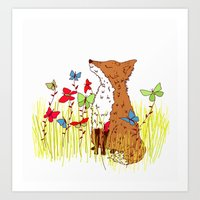 Little Fox In A Butterfl… Art Print