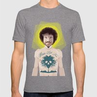 Bob Ross is God Mens Fitted Tee Tri-Grey SMALL