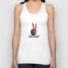 Hand making the V sign united states country flag painted Unisex Tank Top