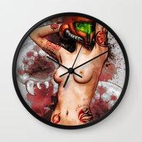 Sexy Metroid Samus Aran Pinup Zero Suit Painting Wall Clock