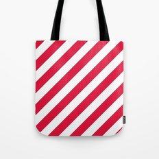 Diagonal Stripes (Crimson/White) Tote Bag