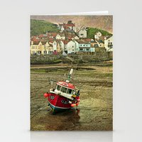 Three Red Boats at Staithes Stationery Cards