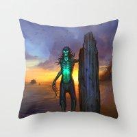 Toxic Surfer Throw Pillow