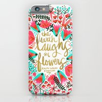 iPhone Cases featuring The Earth Laughs in Flowers – Pink & Gold by Cat Coquillette