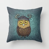 Brave Viking Owl Throw Pillow