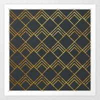 Diamond Art Deco; - Blac… Art Print