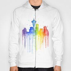Seattle Rainbow Watercolor Hoody