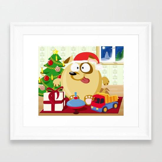Christmas dog in December month series Framed Art Print