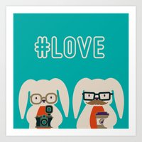 Hipster #LOVE Art Print