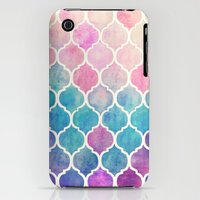 iPhone 3Gs & iPhone 3G Cases featuring Rainbow Pastel Watercolor Moroccan Pattern by micklyn