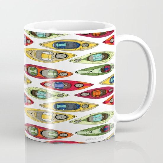 I Heart Kayaks Pattern Mug