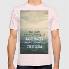 The cure for anything is salt water, sweat, tears, or the sea.    Dinesen Mens Fitted Tee Light Pink SMALL