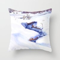 Open Stream In Winter Throw Pillow