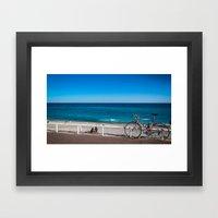 Beach And The Bike - Nic… Framed Art Print