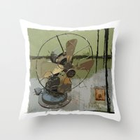 old antique fan Throw Pillow