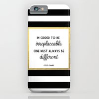 iPhone Cases featuring Coco Gold Irreplaceable Fashion Quote by poppy loves to groove
