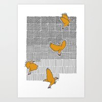 Pencil Birds Art Print